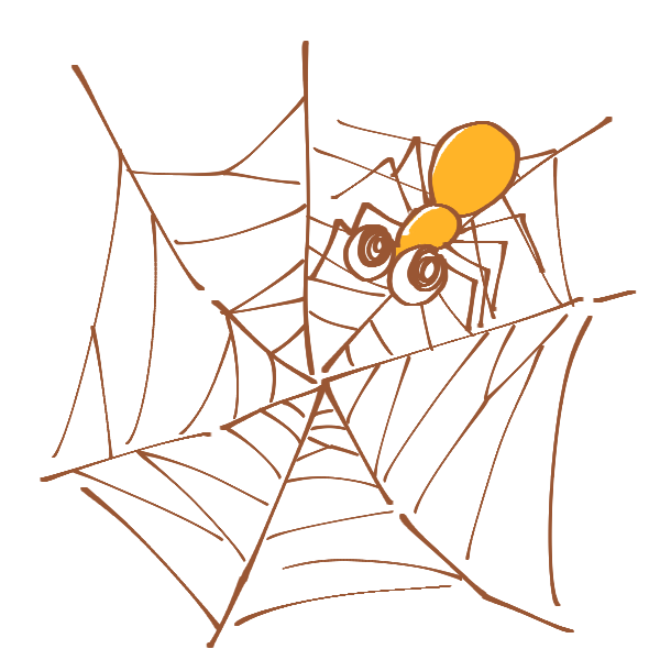 蜘蛛の巣と蜘蛛のイラスト