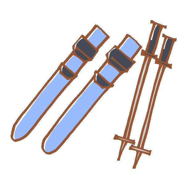 スキー板とストックのイラスト
