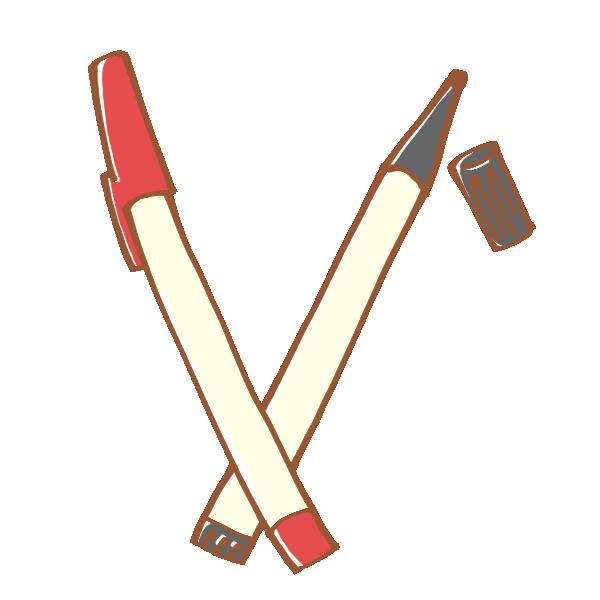 赤と黒のペンのイラスト