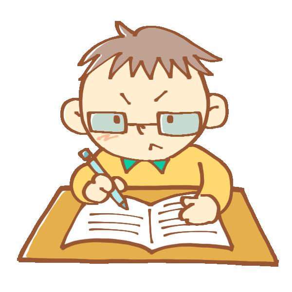 一生懸命勉強中の男の子のイラスト