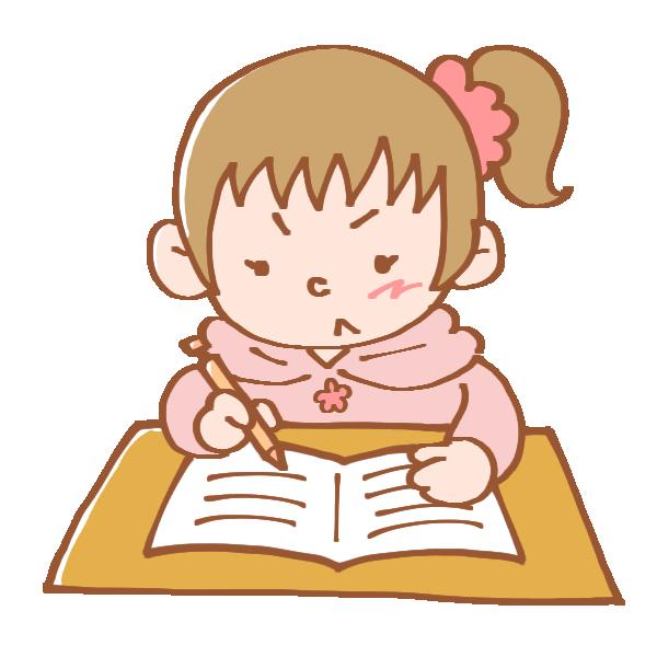 一生懸命勉強中の女の子のイラスト