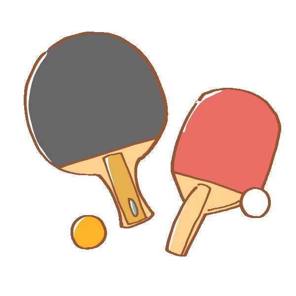 卓球のラケット2種と2色のピンポン玉のイラスト かわいいフリー素材が無料のイラストレイン
