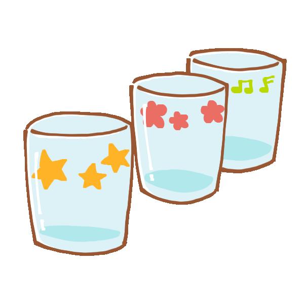 三つのコップのイラスト