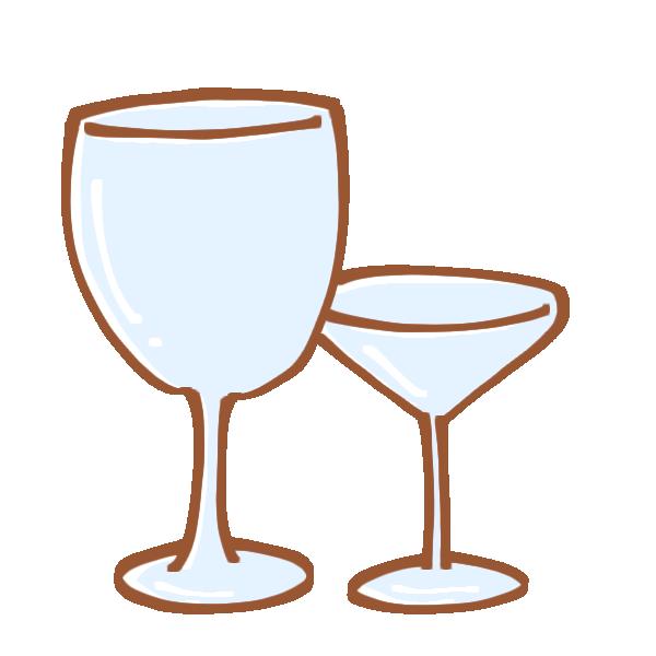お酒を飲むグラスのイラスト