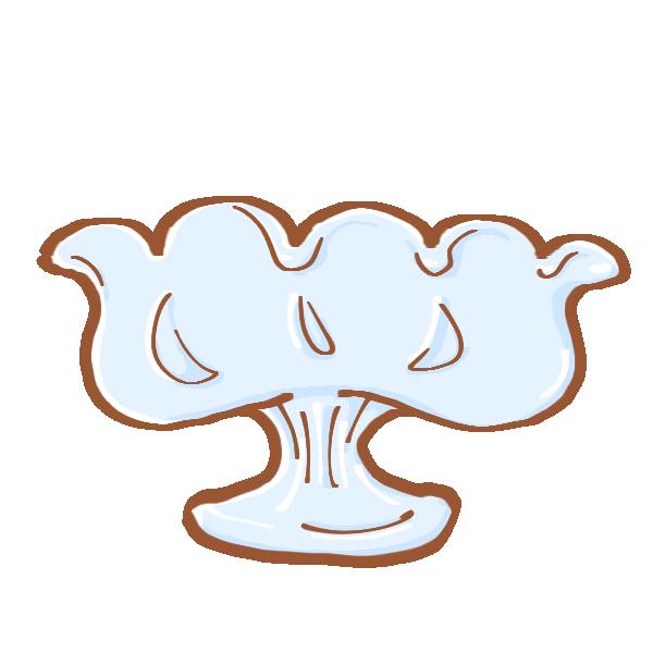 平たいパフェの皿のイラスト