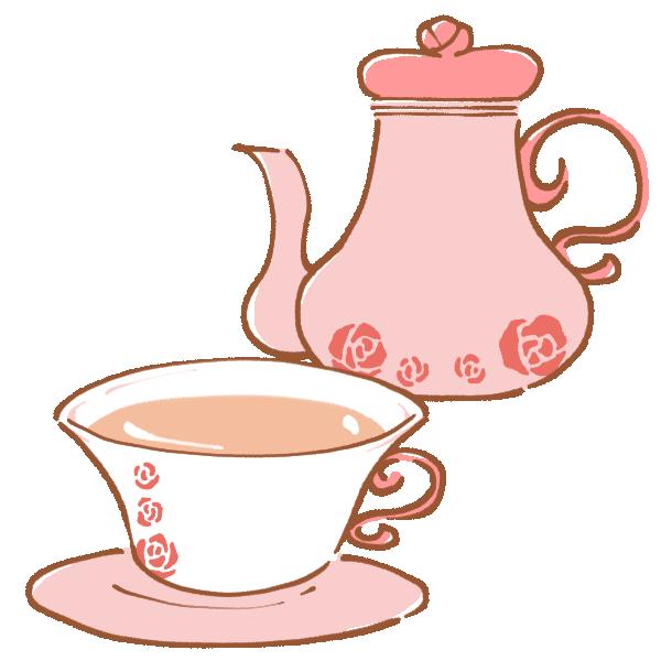薔薇のカップで紅茶のイラスト