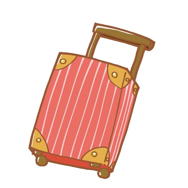 赤いキャリーバッグのイラスト