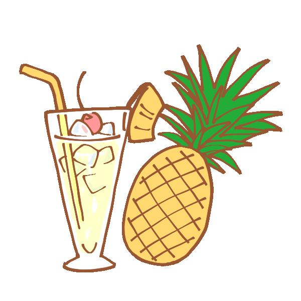パイナップルとトロピカルジュースのイラスト