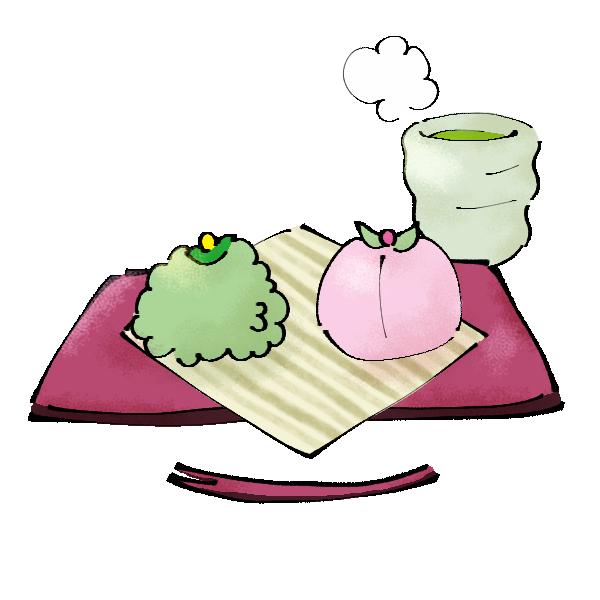 緑とピンクの和菓子のイラスト