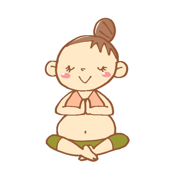 瞑想のヨガポーズのイラスト