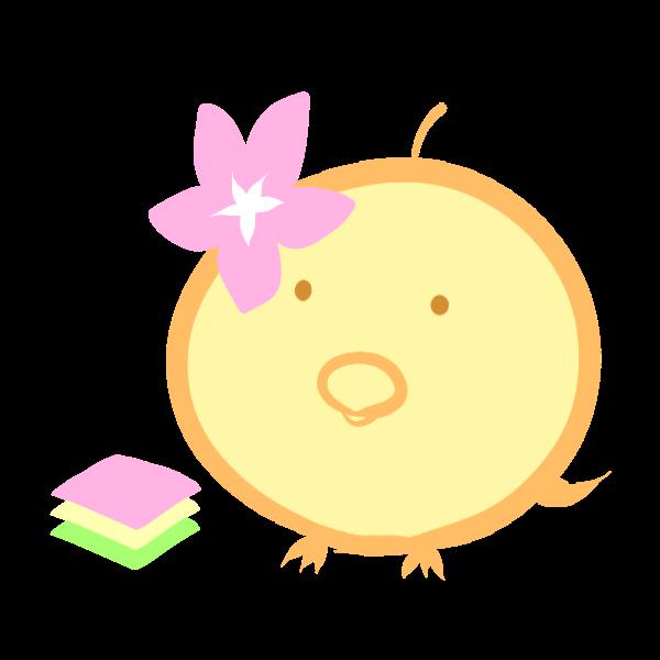 ヒヨコと菱餅のイラスト