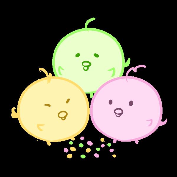 ヒヨコ三兄弟と雛あられのイラスト