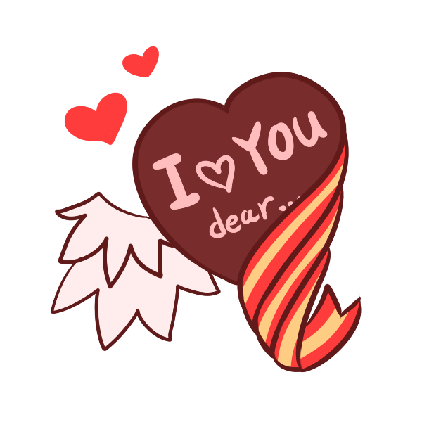 バレンタイン_羽とリボンのイラスト