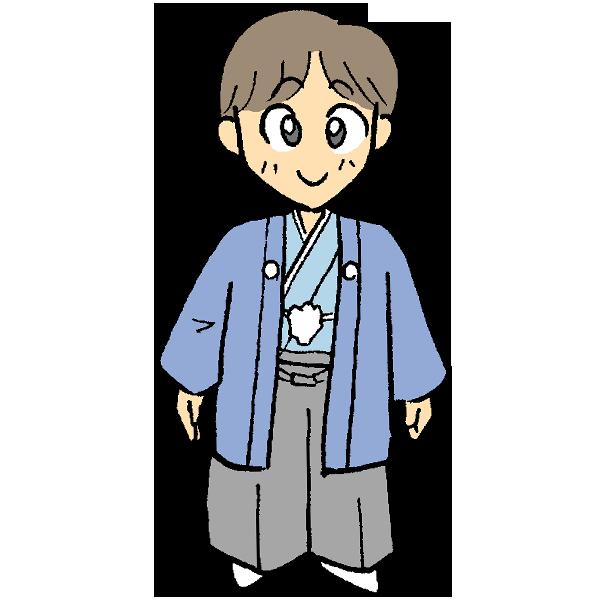 着物男の子のイラスト