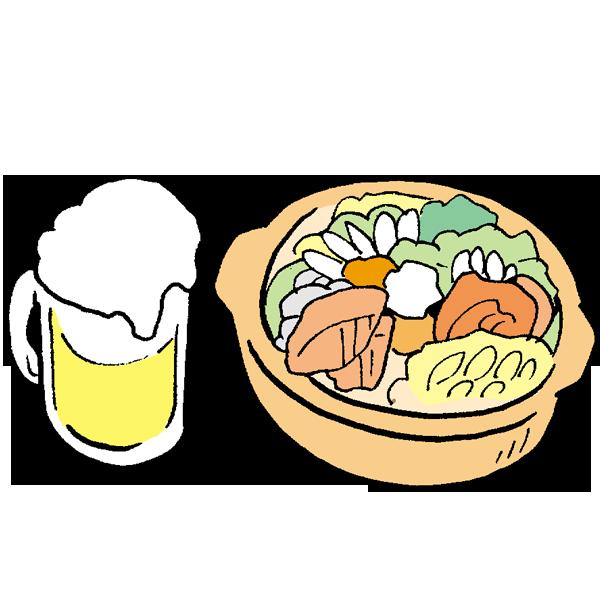 鍋とビールのイラスト