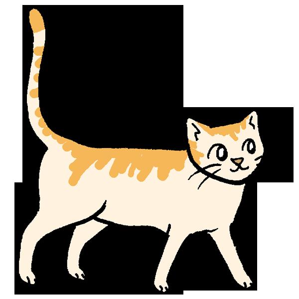 歩くネコのイラスト
