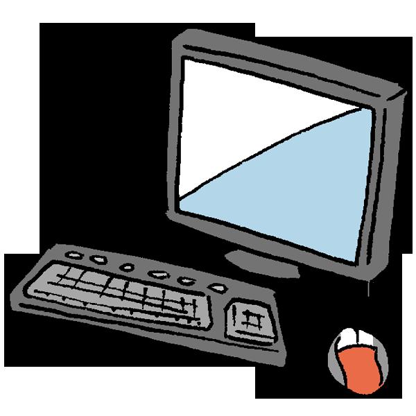 パソコンとマウスのイラスト