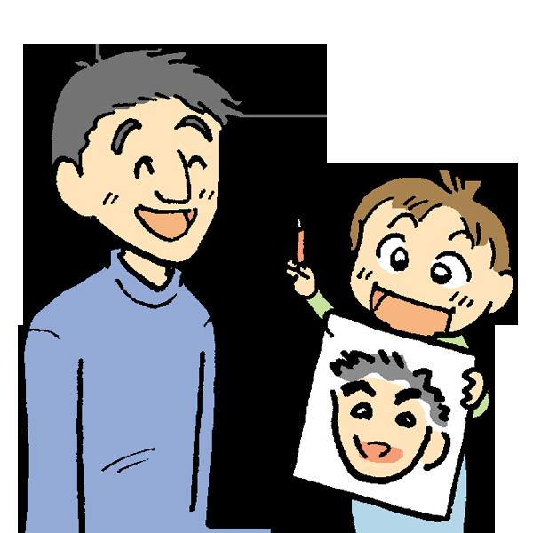 子供が似顔絵を描くのイラスト