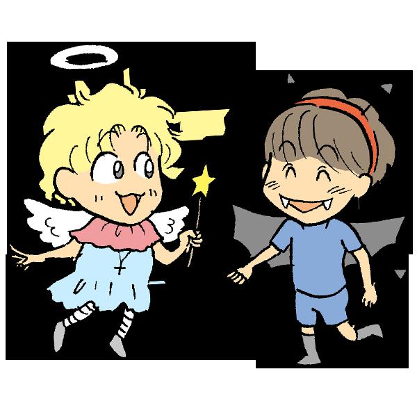 天使と悪魔のイラスト