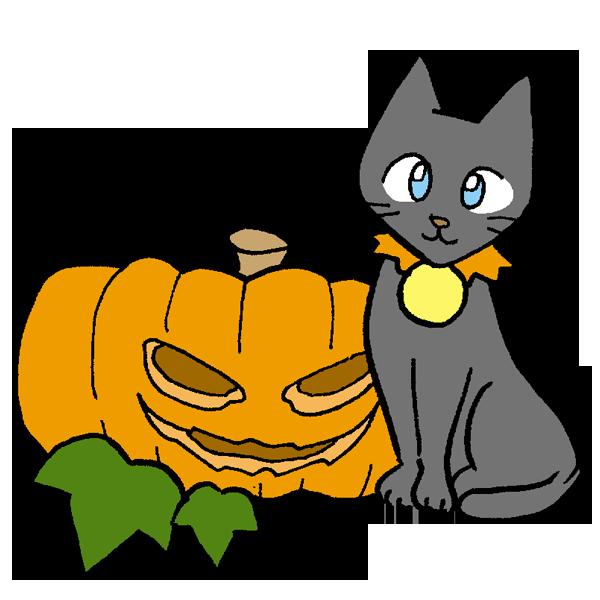 かぼちゃと猫のイラスト