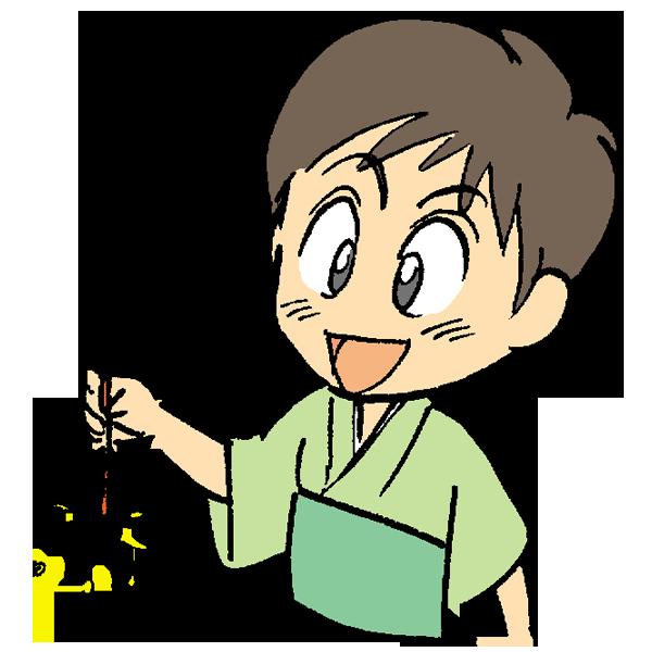 線香花火を楽しんでいる男の子のイラスト