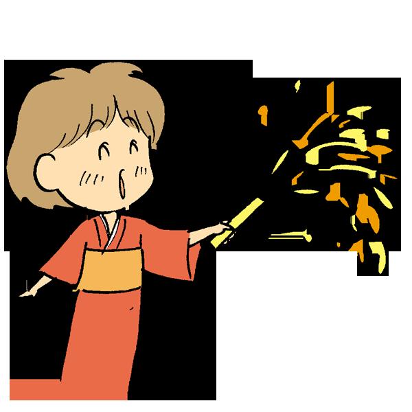 手持ち花火を楽しんでいる女性のイラスト