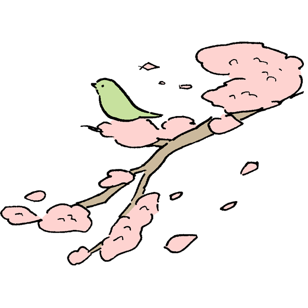鶯と桜のイラスト