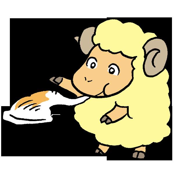 お餅を食べる羊のイラスト