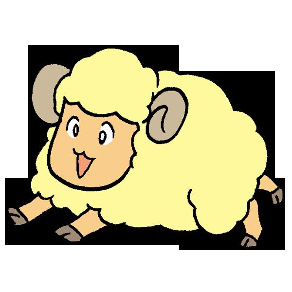 羊かけっこのイラスト