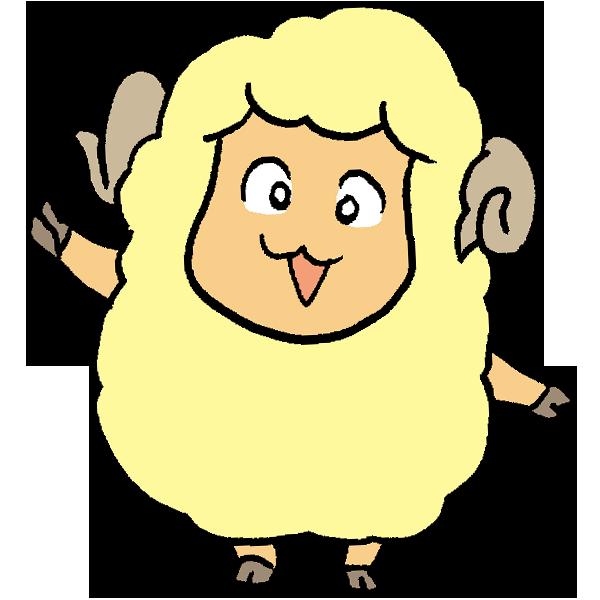 羊片手上げのイラスト