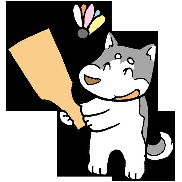 羽子板と犬のイラスト