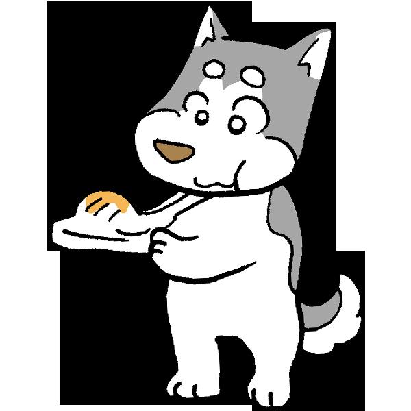 お餅を食べる犬のイラスト