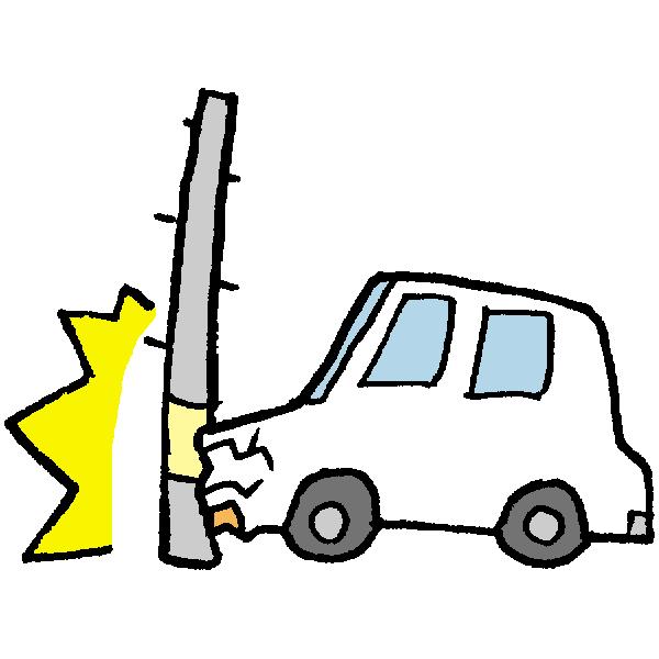 電柱にぶつかる車のイラスト