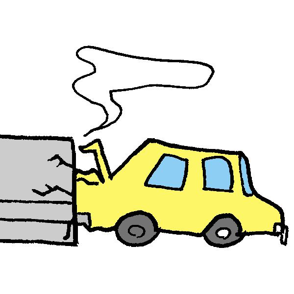 塀にぶつかる車のイラスト