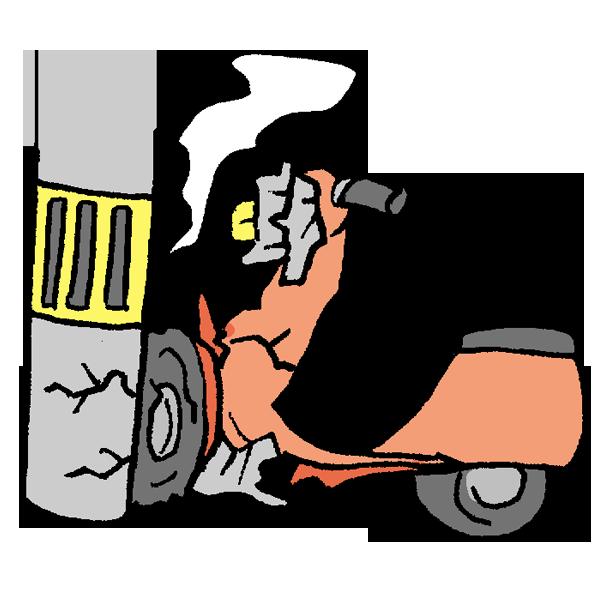 電柱にぶつかるバイクのイラスト