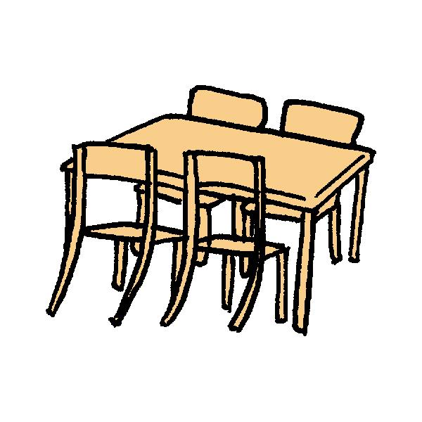 テーブルとイスのイラスト