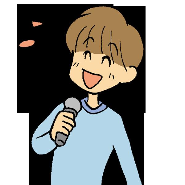 男性歌うのイラスト