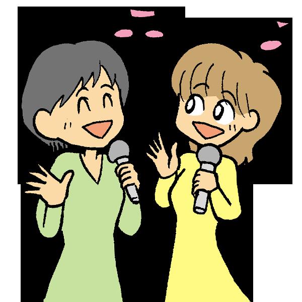 女性歌うのイラスト