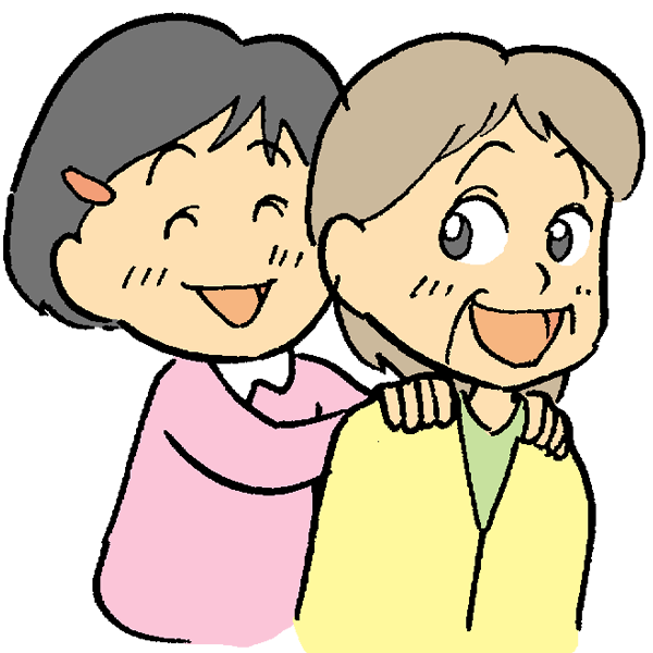 おばあちゃんと孫のイラスト