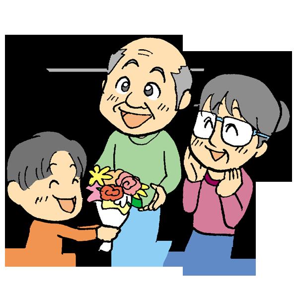 お花をプレゼントする孫のイラスト