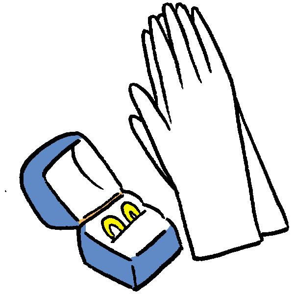 手袋と結婚指輪のイラスト