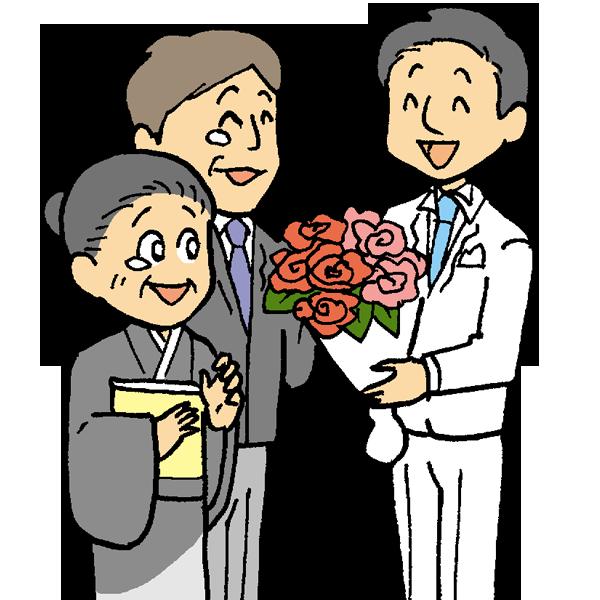 花束贈呈2のイラスト