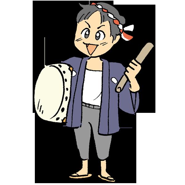 太鼓を持った男の子のイラスト