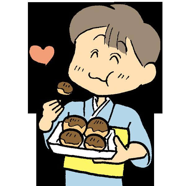 たこ焼きを食べている男の子のイラスト