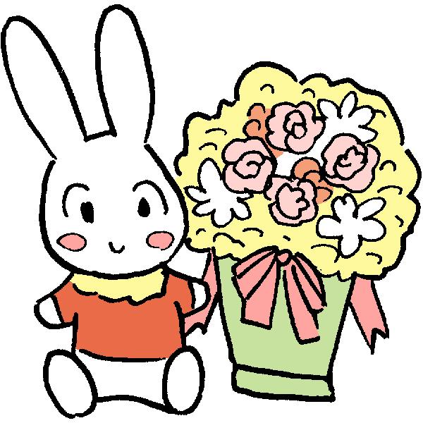 うさぎと花のイラスト