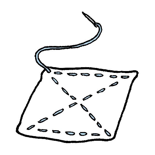 雑巾と針と糸のイラスト
