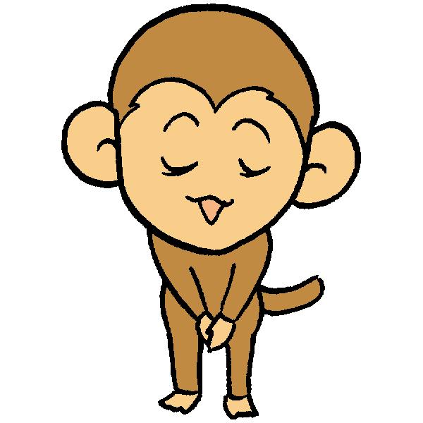 猿お辞儀のイラスト