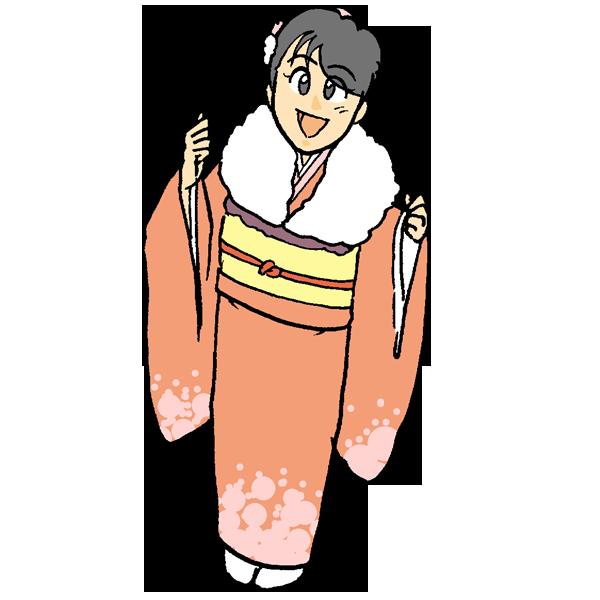 振袖を着た成人女性のイラスト
