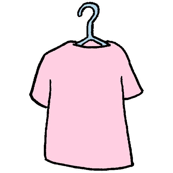 干してるTシャツのイラスト