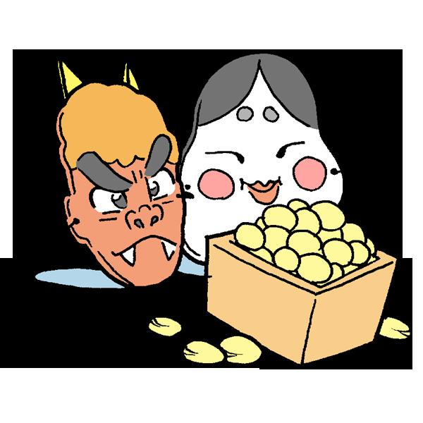 お面と豆のイラスト
